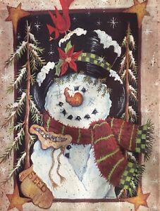 """Snowman with Top Hat Scarf. WINTER Garden Flag 12.""""x 18quot;"""