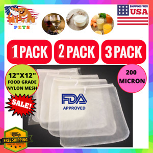 1/2/3 Pack Food Grade Almond Nut Milk Bag Strainer Nylon Mesh 12