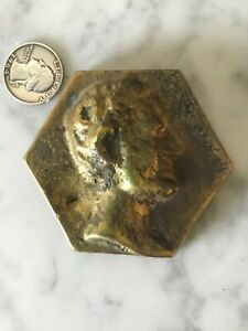 VTG SOLID BRASS PRESIDENT ABE LINCOLN HEAD PAPERWEIGHT 14OZ VINTAGE QUALITY OLD $16.99