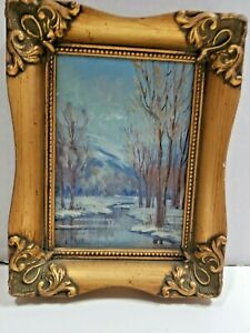 Original Oil Signed Rehle Higham Idaho quot;Winter Treesquot; Mountain River Landscape $95.00