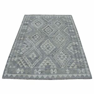 5#x27;x6#x27;6quot; Undyed Natural Wool Afghan Kilim Reversible Hand Woven Rug R53013 $227.00