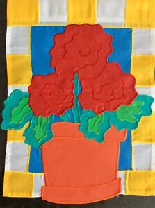 "BIG RED FLOWERS APPLIQUÉ COLLECTIONS GARDEN Flag(12""X 15"