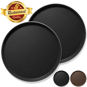 2pc Round Restaurant Serving Trays NSF Certified Non-Skid Food Service Bar Tray