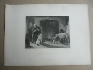 Old Antique c.1870#x27;s ART PRINT THE GAMEKEEPERS FIRE SIDE Hunting C. Hancock
