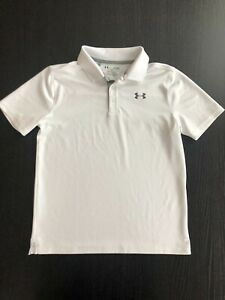 UNDER ARMOUR Golf Shirt Youth Large YLG White & Grey $17.95