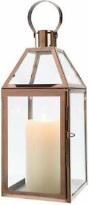 Rose Gold Decorative Lanterns 16 inch High Stainless Steel Candle Lanterns
