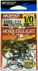 NEW OWNER MOSQUITO LIGHT DROP SHOT SPECIAL HOOKS PRO PACK SIZE 1 0 THRU 4 NEW $14.99