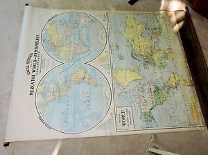 2 Diffrent Antique Roll Down George F. Cram One Room School Maps From Wisconsin