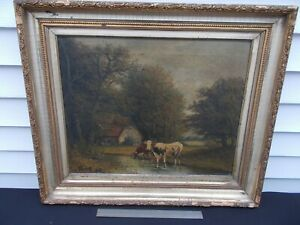 ANTIQUE 19THC.SIGNED KING COUNTRY WOODED LANDSCAPE COWS OIL PAINTING