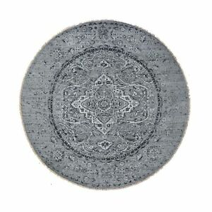 12'x12' Round Broken Erased Design Pure Silk With Textured Wool Rug R48836