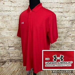 Under Armour Men's Golf Red Short Sleeve Polo Shirt Size Large White Logo $19.99