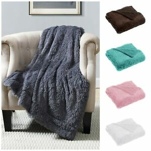 Chezmoi Collection Long Shaggy Faux Fur Throw Oversized Reversible Blanket