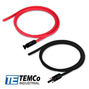 Solar Panel Extension Cables (1Red-1Black Cable with Connectors) Made In USA
