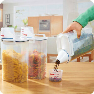 Best 2L Plastic Cereal Dispenser Storage Box Kitchen Food Grain Rice Container