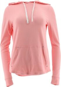 AnyBody Loungewear Cozy Knit Light French Terry Hoodie Melon 1X NEW A306955