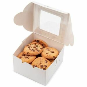 50x Pastry Bakery Box with Window for Cookies Cupcakes Donuts Muffins 4x4x2.3