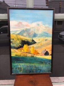 1940s LARGE VINTAGE ARTIST SIGNED MOUNTAIN FARM LANDSCAPE OIL ON CANVAS PAINTING $350.00