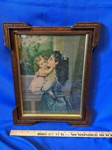 Antique Picture Frame THE SISTERS 1878 Chromolithograph Print TRUE  $93.75