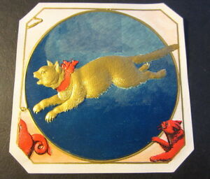 Original Old Antique KIT KAT Outer CIGAR BOX LABEL Gold CAT w RED RIBBON $69.99