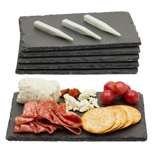 Mini Slate Cheese Boards 6PC Charcuterie Cheese and Meat Serving Board +3 Chalks