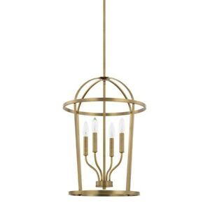 HomePlace by Capital Lighting Greyson 4 Light Foyer, Aged Brass - 528541AD