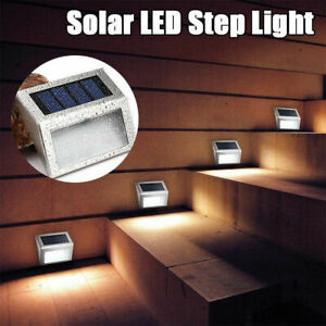 1/2x 3LED Solar Powered Stairs Automatic Light Security Garden Courtyard Lamp