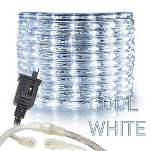 3 8quot; Cool White Thick LED Rope Light Accent Indoor Outdoor 10 20 25 50 100 150FT