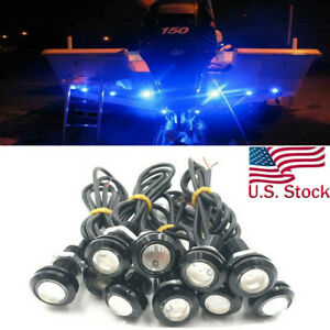10x Blue LED Boat Light Silver Waterproof Outrigger Spreader Transom Underwater $14.99