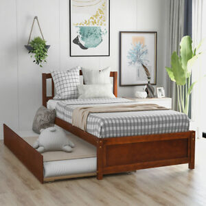 Twin size Wood Bed Frame Bed Platform with Trundle and Wood Slats support Walnut