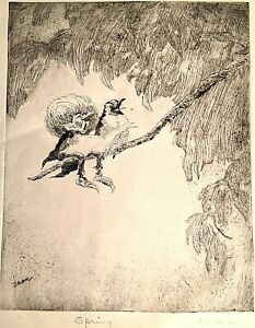 "Vintage Pencil Signed Bob Dean Etching Print ""Spring"" Birds on a Branch"