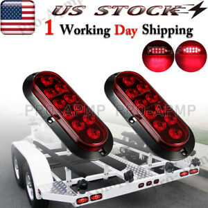 2x Red 10 LED 6 Oval Trailer Truck Stop Turn Tail Brake Lights Flush Mount