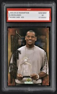 2003 04 LeBron James Upper Deck UD Redemption Rookie Graded 10 Rare RC Card FIRE