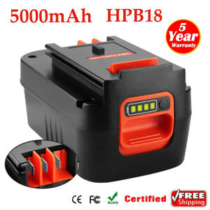 18V 5000mAh HPB18 Lithium Battery for Black & Decker HPB18-OPE FS18BX 244760-00