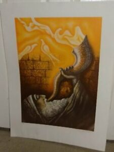 Lucien Krief French Israel Judaica Art Ltd Ed The Horn of Deliverance Lithograph