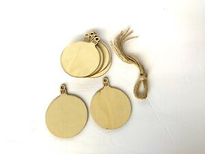 10 Pcs Wooden Round Bell Hanging Xmas Tree Ornaments Christmas Decoration Decor