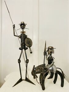 Rare Vintage Set Signed MICHEL JARRY Don Quixote amp; Sancho Panza Metal Sculptures $1495.00