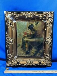 19thC RARE Antique Signed Painting Picture Frame Gold Gesso Shadowbox Wood old $163.20