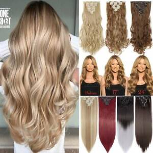 CLEARANCE Clip in as Human Hair Extensions Full Head 100% Real Hair Mix Blonde $2.66