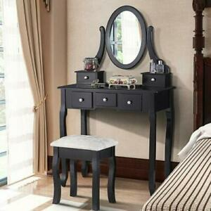 Black Vanity Dressing Table Set With Mirror Stool 5 Drawers Makeup Desk Bedroom