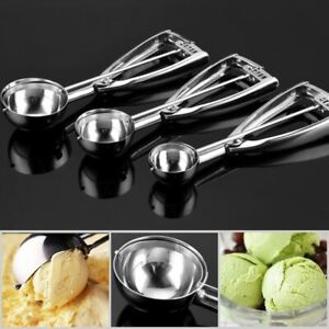 Ice Cream Scoop, Danibos Stainless Steel With Trigger Cookie Spoons