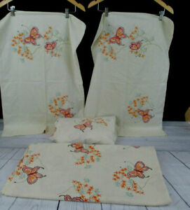 VTG Tastemaker Double Flat Fitted Bed Sheets 2  Pillowcases Luna Moths Flowers