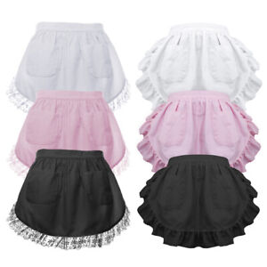 Aspire Adult Maid Vintage Waist Apron w/ Pockets, Lace or Ruffle, Headband avail