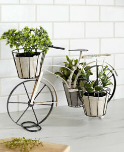 Garden White Vintage Metal Bike Planter Outdoor Indoor Plant Basket Holder Fun