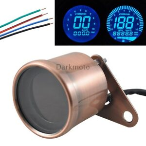 Retro LED Motorcycle Tachometer Copper Speedometer Fuel Gauge Assembly LCD $20.94