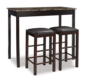3 Piece Table Set Faux Stone Paper Wrapped Table Top Espresso 42W x 22.25D x 36H