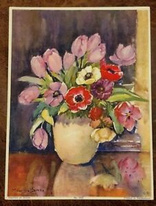 Vintage Marcella Smith Lithograph Art Print No.1823 Still Life Flowers in Vase $5.95