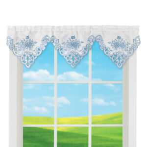 Floral Embroidered White Window Valance
