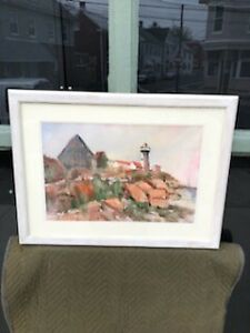 EASTERN POINT LIGHTHOUSE SIGNED FL ARTIST ELEANOR L CRISWELL WATERCOLOR PAINTING $150.00