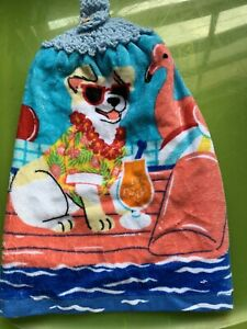 Dog Party Beach Double Thick Crochet Kitchen Towel By Laura