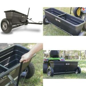 Tow Behind Drop Spreader for Lawn Garden Outdoor Durable 175-Pound Max Black
